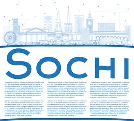 Outline Sochi Russia City Skyline with Blue Buildings and Copy Space.