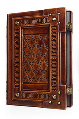 """Large leather bound book with Latin text """"Memento Mori"""" engraved several times as a frame - stand up. English translation of the Latin text is: """"Remember that you have to die"""""""
