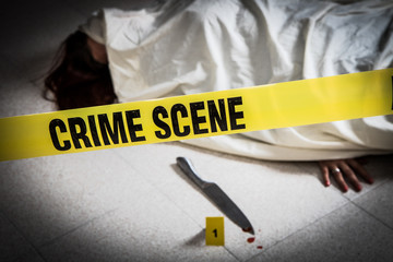 crime scene with woman dead