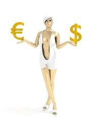 Young lady holding a symbols of currency. Dollar and Euro money sign. 3D rendering. Short elegant dress. Metallic material