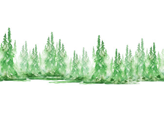Seamless watercolor linear pattern, border. green spruce, pine, cedar, larch, abstract forest, silhouette of trees. On white isolated background.