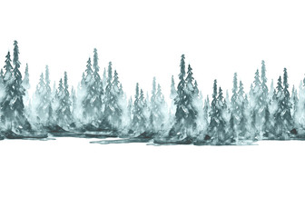 Seamless watercolor linear pattern, border. Blue spruce, pine, cedar, larch, abstract forest, silhouette of trees. On white isolated background. Foggy forest