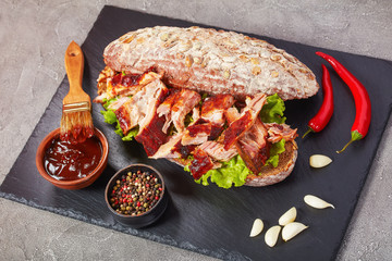 delicious juicy giant BBQ rib sandwich