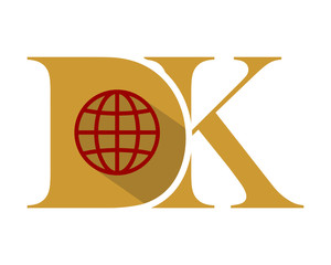 D and K gold initial typography typeface typeset logotype alphabet image vector icon globe