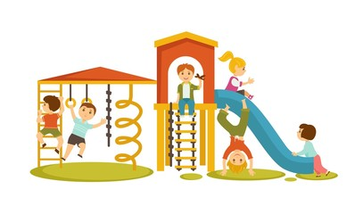 Children have fun at playground with big slide