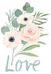 Floral card template with rose, anemone, eucalyptus branch and text love. For invite, greeting, wedding, poster, birthday. Vector illustration. Watercolor style