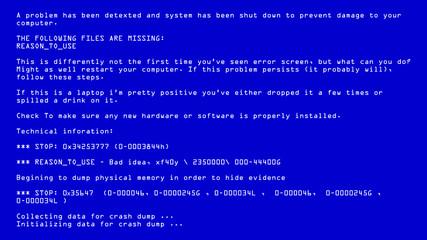 Blue Screen Of Death Vector. BSOD. Fatal Death Computer Error. System Crash Report. Illustration
