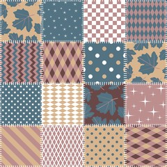 Seamless patchwork pattern from square patches with geometric ornament and leaves. Quilt design. Vector illustration.