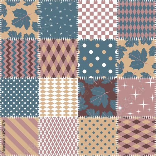 Seamless Patchwork Pattern From Square Patches With Geometric