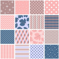 Beautiful seamless patchwork in pink, blue and brown colors. Square patterns with leaves, stars, polka dot, zigzag and rhombus in shabby chic style. Vector illustration. Quilting design.