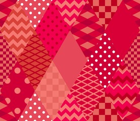 Bright red patchwork pattern. Seamless print for fabric, textile, wrapping paper. Vector quilt design.