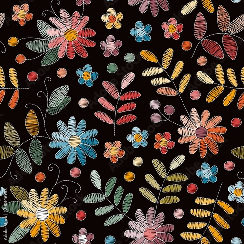 Embroidery Seamless Pattern With Colorful Flowers And Leaves On