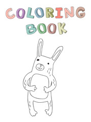 Cute cartoon rabbit character, contour vector illustration for coloring book in simple style. Isolated on white background.