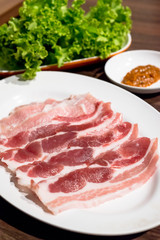 Korean grilled pork belly bbq samgyeopsal