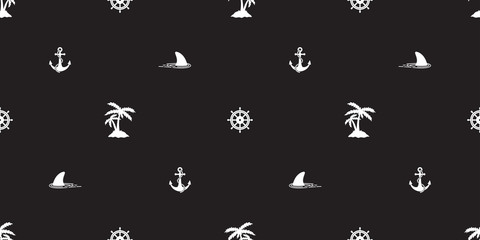 helm anchor shark seamless pattern vector coconut palm tree island nautical boat sea ocean isolated tropical background wallpaper