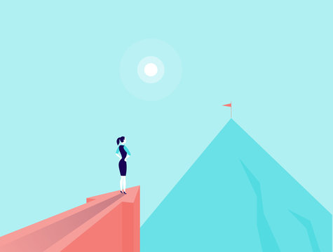 Vector business concept illustration with business lady standing on big arrow pointing on mountain peak. Office woman watching at new top. New aim, goal, purpose, achievement, aspiration - metaphor.
