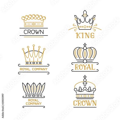 Crowns logo set luxury emblems in trendy outline style stock crowns logo set luxury emblems in trendy outline style stock vector illustration for hotel stopboris Gallery