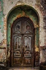 Old beautiful wooden door
