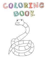 Cute cartoon snake character, contour vector illustration for coloring book in simple style. Isolated on white background.