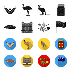 The palace of Queen Victoria, Mount Uluru, a flower of a mimosa, a national flag.Australia set collection icons in black,flet style vector symbol stock illustration web.