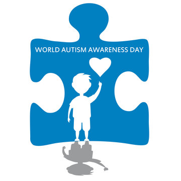 Creative concept vector illustration for World Autism awareness day. Can be used for banners, backgrounds, badge, icon, medical posters, brochures. Vector, isolated