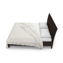 Double bed isolated over white. 3D illustration