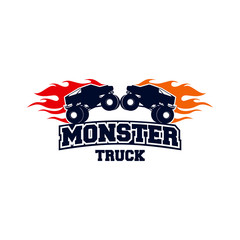 Extreme Monster Truck logo, Extreme Monster Truck with fire flame logo template