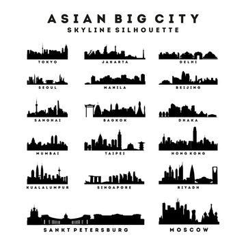 Collection of Asian Big City Skyline Silhouette Vector