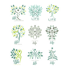 Flat vector set of life logo templates with silhouettes of human and green leaves. Abstract emblems for yoga studio, wellness and medical care center