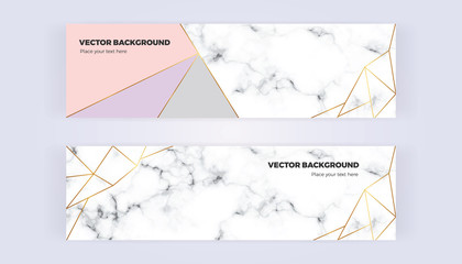 Geometric banner with gold lines, grey, pastel pink colors and marble texture background. Template for designs, card, flyer, invitation, party, birthday, wedding, email, web