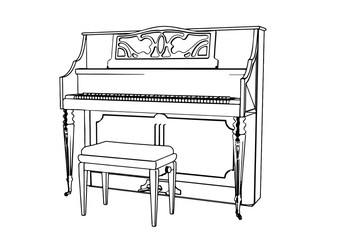 outline piano vector