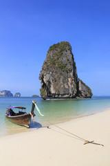 Longtail Boat Railay Beach Krabi Thailand