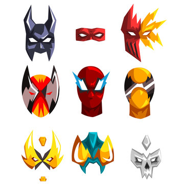 Flat vector set of superheroes masks. Clothing attribute for costumed party. Faces of heroes. Design for photo props or mobile app