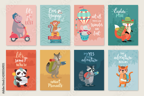 Wall mural Travel Animals card set, hand drawn style,