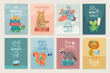 Fototapete - Travel Animals card set, hand drawn style,.