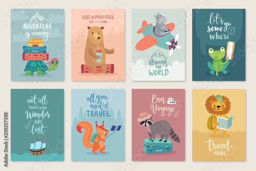 Wall mural Travel Animals card set, hand drawn style,.