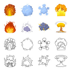 Flame, sparks, hydrogen fragments, atomic or gas explosion. Explosions set collection icons in cartoon,outline style vector symbol stock illustration web.