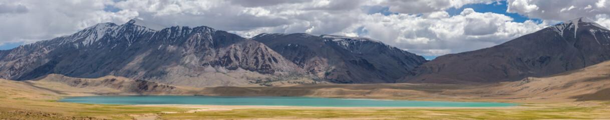Beautiful panorama of landscape around Thadsangkaru Tso or Kiagar Tso lake in Ladakh, India