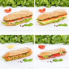 Sub sandwiches collage whole grain with ham cheese salami fish square