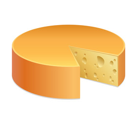 Round cheese with cut. Vector illustration  isolated on white background.