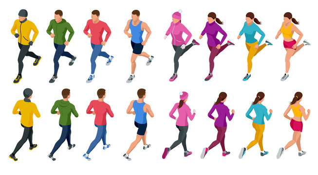 Isometric running people. Front and rear view. People are dressed in summer, winter, autumn, spring sports uniform