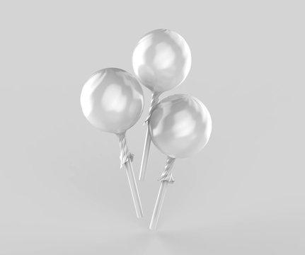 Blank Ball Matte Lollipop In Wrapper 3d illustration for Design presentation.