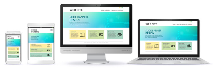 Responsive Web Site Design With Computer Monitor, Laptop, Tablet PC and Mobile Phone Screen
