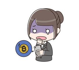 ビットコイン取引で損失が出て青ざめる女性