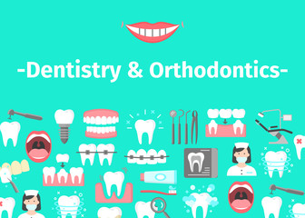Dental banner with flat icons