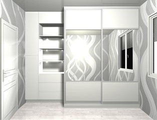 3D rendering design, inner filling, wardrobe sliding doors
