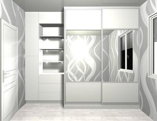 3D rendering design, inner filling, wardrobe sliding doors