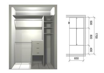 3D rendering design, inner filling, wardrobe