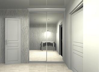 3D rendering illustration interior design wardrobe sliding doors mirrored, hallway