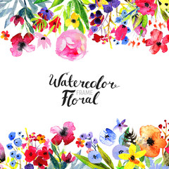 Watercolor Floral Background. Hand painted border of flowers. Good for invitations and greeting cards. Painting isolated on white and brush lettering. Rose, poppy and peony illustration Spring blossom